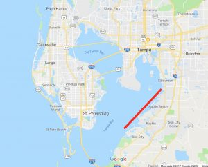 Map of best redfish fishing areas around Tampa Bay including Saint Petersburg, Apollo Beach and all areas on the east coast of St. Petersburg.