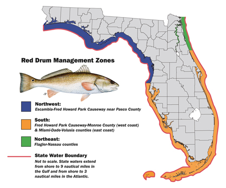 Florida zones for redfish limits. Limits are different based on the areas of the state of Florida.