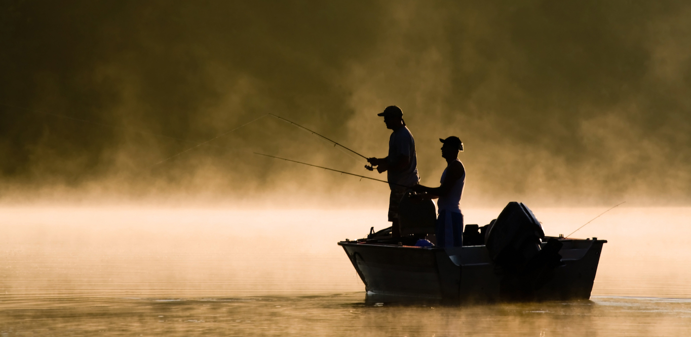 Redfish fishing from small boat.