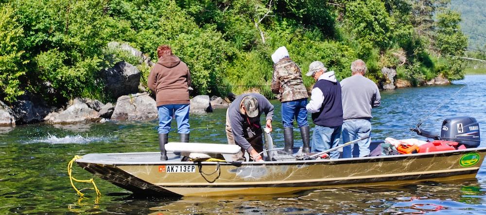 Salmon fishing from boat in Alaska.