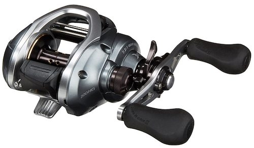 Shimano baitcasting reel for catching redfish. Ideal for fishing from pier, shore, or boat with live or artificial bait.
