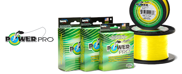 Power Pro yellow braided fishing line, excellent for catching tarpon fish.