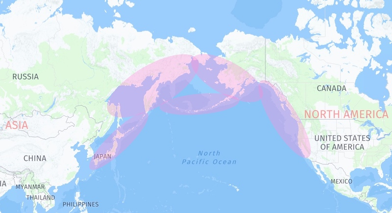 Coho Salmon (O. kisutch) international range map.