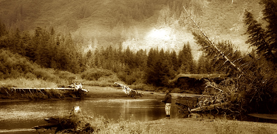 Coho fishing in Alaska on a freshwater stream - sepia.