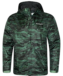 Columbia camo green raincoat, excellent for salmon fishing in Alaska and other northwest territories.