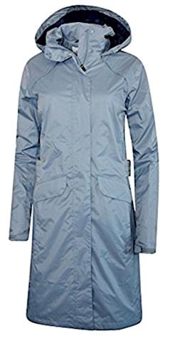 Grey salmon fishing raincoat for women.