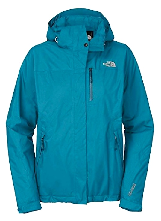 Blue raincoat made by North Face for female anglers.