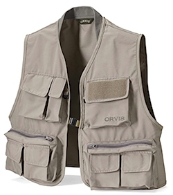 Orvis salmon fishing vest for adults. Color dark sand.