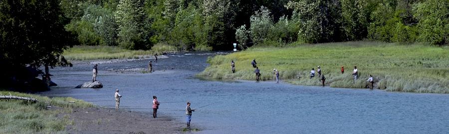 Salmon fishing Alaska river.