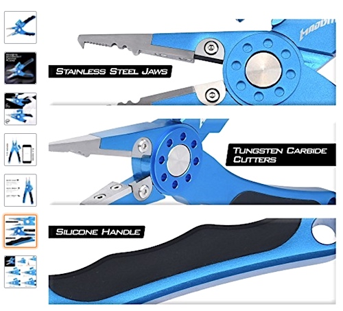 Salmon fishing pliers multi-purpose tool with crimper, light, hook remover, etc.