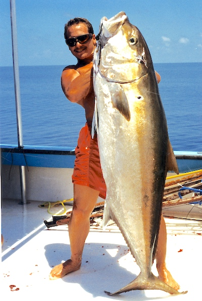 A very large greater amberjack caught in the Dry Tortugas in August 1995.