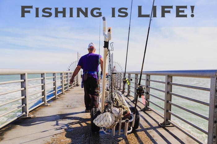 Fishing on a fishing pier in Florida, carrying fishing gear.